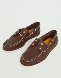 Timberland Classic Boat Shoes In Brown Leather Brown