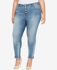 William Rast Trendy Plus Size Button Fly Skinny Jeans Blue Mark