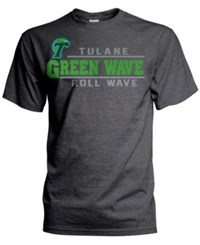 J America Men's Tulane Green Wave Verbiage Stack T Shirt Charcoal