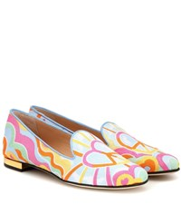 Charlotte Olympia Embroidered Canvas Loafers Multicoloured