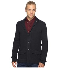 Ben Sherman Long Sleeve Herringbone Soft Blazer Shirt Blue Black Men's Long Sleeve Button Up Navy
