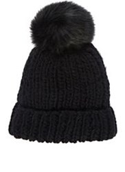 Barneys New York Pom Pom Embellished Hat Black