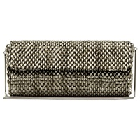 Reiss Souxie Soft Long Beaded Clutch Bag Silver