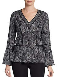 Marchesa Voyage Piped Plume Print Top Black White