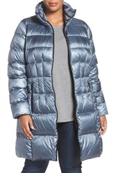 Bernardo Plus Size Women's Packable Down And Primaloft Fill Coat Ice Cove Nightshade