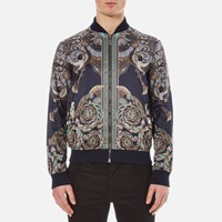 Versace Collection Men's Printed Reversible Bomber Jacket Navy Blue