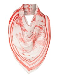 Max Mara Ortles Silk Printed Scarf Red