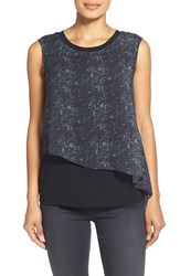 Women's T Tahari 'Yara' Print Mixed Media Double Layer Shell