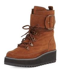 Stuart Weitzman Attackit Leather Hiker Boot Tan Camel