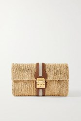 Mark Cross Sylvette Leather And Canvas Trimmed Woven Raffia Clutch Beige