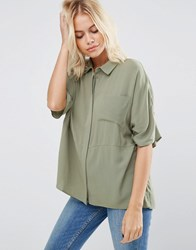 Asos Boxy Blouse In Crinkle Khaki Green