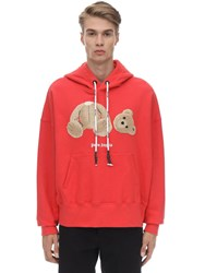 Palm Angels Cotton Jersey Hoodie W Bear Patch Red