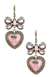 Betsey Johnson Kitty Cameo Bow Drop Earrings Pink