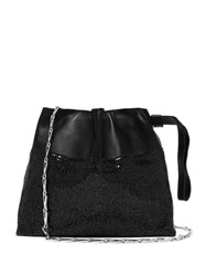 Paco Rabanne Drawstring Chainmail Leather Clutch Bag Black