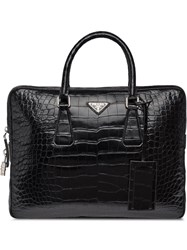 Prada Crocodile Leather Briefcase Black