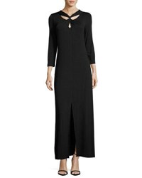 Neiman Marcus 3 4 Sleeve Twist Front Maxi Dress Black