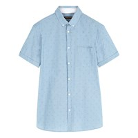 Jaeger Chambray Anchor Print Short Sleeve Shirt Light Blue