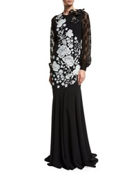 Andrew Gn Embroidered Long Sleeve Crepe Gown Black