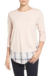 Vince Camuto Women's Two By Layered Look Mixed Media Top