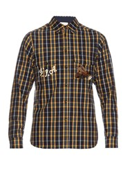 Gucci Bee Embroidered Brushed Cotton Checked Shirt Blue Multi