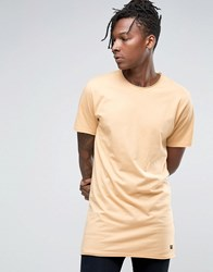 Only And Sons Longline Raw Edge T Shirt Beige