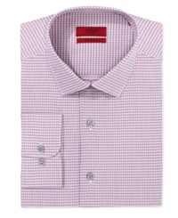Alfani Red Fitted Performance Mini Magenta Check Dress Shirt Only At Macy's