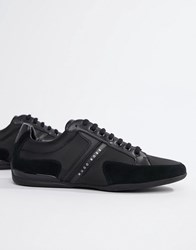 Boss Spacit Nylon Suede Trainers In Black