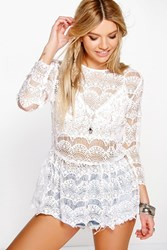 Boohoo Crochet Lace Peplum Top White