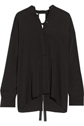 Helmut Lang Open Back Stretch Silk Blouse Black