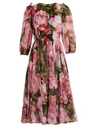 Dolce And Gabbana Rose Print Chiffon Dress Pink Multi