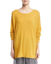 Eskandar Slim Sleeve Raw Edge Cashmere Bateau Top Dark Orange