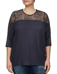 Junarose Halle Lace Top Navy