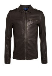 Superdry Hero Casual Showerproof Full Zip Leather Brown
