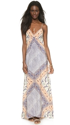 Twelfth St. By Cynthia Vincent Maxi Dress Patchwork Scarf Print