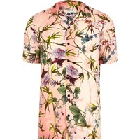 River Island Mens Pink Floral Revere Collar Short Sleeve Shirt