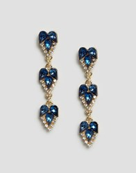 Johnny Loves Rosie Multi Gem Drop Earrings Teal Silver