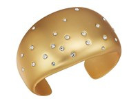 Cole Haan Wide Cuff Bracelet With Embedded Crystal Stones Gold Matte Plating Clear Crystal Stones Bracelet