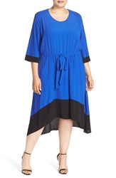 Plus Size Women's Melissa Mccarthy Seven7 Contrast Trim Tie Waist Dress