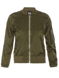 Nlst Cropped Sleeve Satin Bomber Jacket Khaki