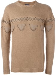 Laneus Cable Knit Studded Jumper Nude And Neutrals