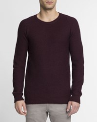 M.Studio Wine Red Honeycomb Stitch Round Neck William Jumper Burgundy