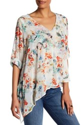 Matty M Asymmetrical Floral Blouse Orange