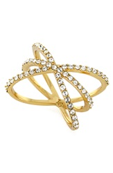 Louise Et Cie Micro Pave Starburst Ring Gold Crystal