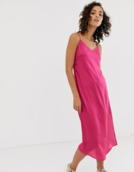 Na Kd Satin Slip Day Dress In Pink