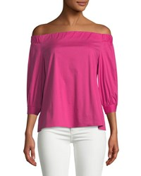 Laundry By Shelli Segal Off The Shoulder Three Quarter Sleeve Blouse Pink Purple