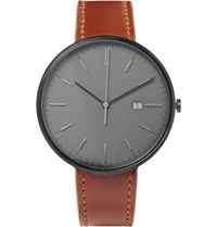 Uniform Wares M40 Pvd Coated Stainless Steel And Leather Watch Gray
