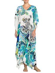 East Silk Paisley Print Long Kaftan Aqua