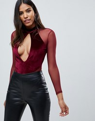 Missguided Plunge Cut Out Velvet And Mesh Body In Burgundy Red