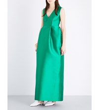 Merchant Archive V Neck Empire Satin Gown Emerald Green