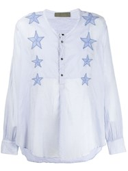 Di Liborio Star Embroidered Shirt Blue